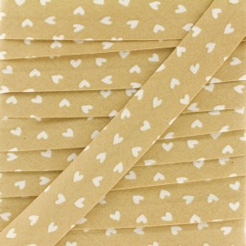 18mm Cotton Bias Binding - Beige Simple Heart x 1m