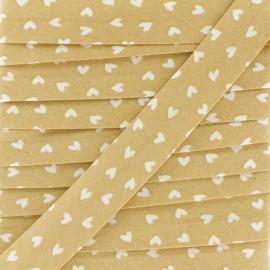 Biais Coton Simple Coeur 18 mm - Beige x 1m