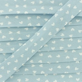 18mm Cotton Bias Binding - Sky Blue Simple Heart x 1m