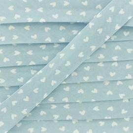 Biais Coton Simple Coeur 18 mm - Bleu Ciel x 1m