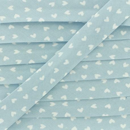 18mm Cotton Bias Binding - Sky Blue Simple Heart x 1m