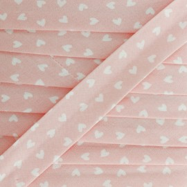 18mm Cotton Bias Binding - Pink Simple Heart x 1m