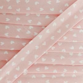Biais Coton Simple Coeur 18 mm - Rose x 1m