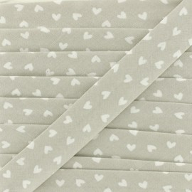 18mm Cotton Bias Binding - Grey Simple Heart x 1m