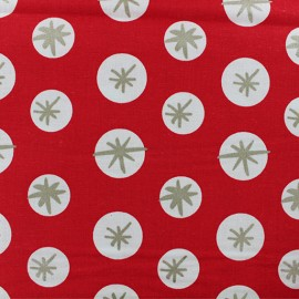 Cotton fabric Snowflakes by Rico Design - Red x 10cm