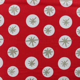 Tissu coton Rico Design Snowflakes - Rouge x 10cm