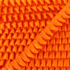 15 mm Pleated Satin Braid Trimmings - Orange x 1m