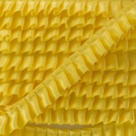 15 mm Pleated Satin Braid Trimmings - Yellow x 1m
