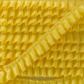 15 mm Pleated Satin Braid Trimmings - Yellow x 1m