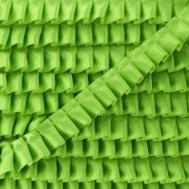 15 mm Pleated Satin Braid Trimmings - Anise Green x 1m