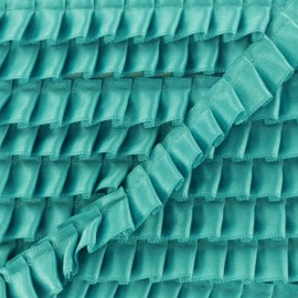 15 mm Pleated Satin Braid Trimmings - Turquoise x 1m