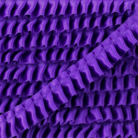15 mm Pleated Satin Braid Trimmings - Purple x 1m