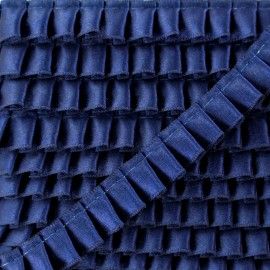 15 mm Pleated Satin Braid Trimmings - Navy x 1m