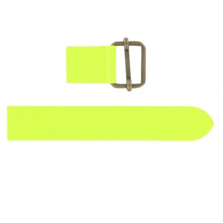 Patte cuir avec coulissant fluo jaune