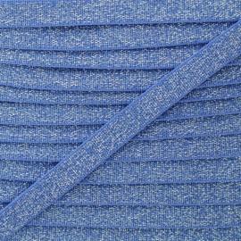 10 mm Flat Silver Lurex Elastic - Blue x 1m