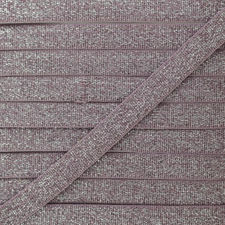 10 mm Flat Silver Lurex Elastic - Ancient Pink x 1m