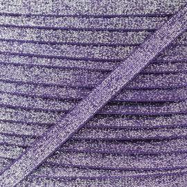 Elastique Plat Lurex Argent 10mm - Violet x 1m