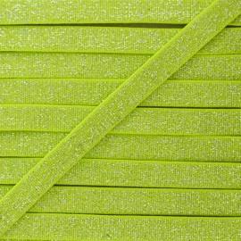 Elastique Plat Lurex Argent 10mm - Vert Anis x 1m