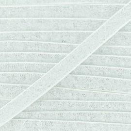 Elastique Plat Lurex Argent 10mm - Blanc x 1m