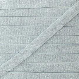 Elastique Plat Lurex Argent 10mm - Gris x 1m