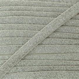Elastique Plat Lurex Argent 10mm - Grège x 1m