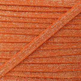 Elastique Plat Lurex Argent 10mm - Orange x 1m