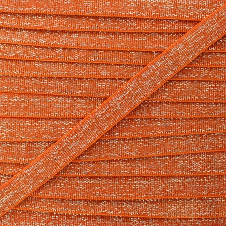 10 mm Flat Silver Lurex Elastic - Orange x 1m
