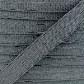 20 mm High Quality Elastic Buttonhole - Grey  x 50cm