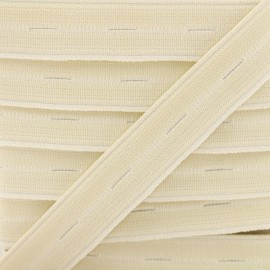 20 mm High Quality Elastic Buttonhole - Ecru x 50cm