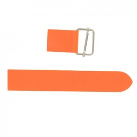 Leather strap with sliding bar adjuster buckle - fluorescent orange