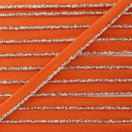 Silver Lurex Elastic Ribbon - Orange x 1m