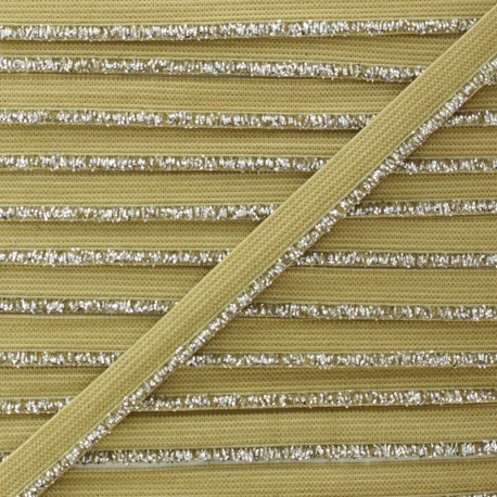 Silver Lurex Elastic Ribbon - Hazelnut x 1m