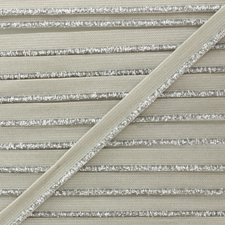 Silver Lurex Elastic Ribbon - Greige x 1m