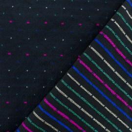 Tissu Jacquard lurex Réversible rayé - noir x 10cm