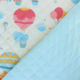 Tissu matelassé réversible Montgolfière enchantée - Blanc/bleu x 10cm
