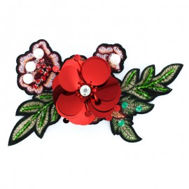 Flowers & Pearls Iron-On Patch - Red