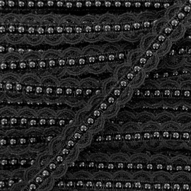Bead and Lace Braid Trim - Black x 50cm