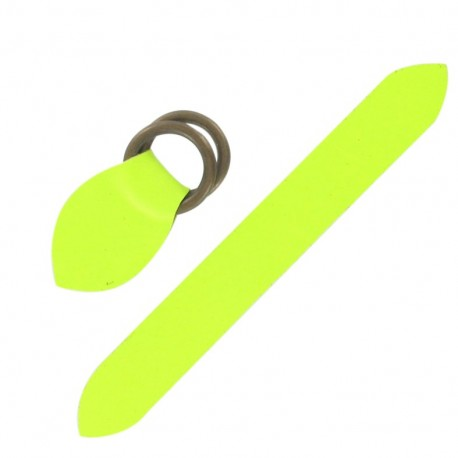 Leather strap with double D rings - fluorescent yellow