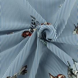 Crepe fabric - blue herborist x 10cm