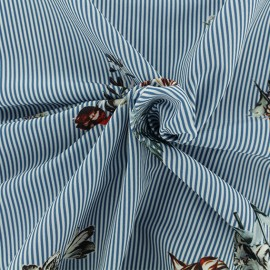 Tissu crêpe Herborist - bleu x 10cm