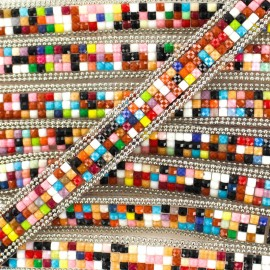 12 mm Mosaic Iron-on Trim - Multi x 50cm
