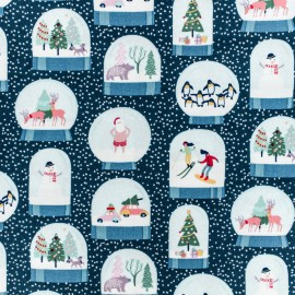 Dear Stella Cotton fabric - Blue Snow Globes x 10cm