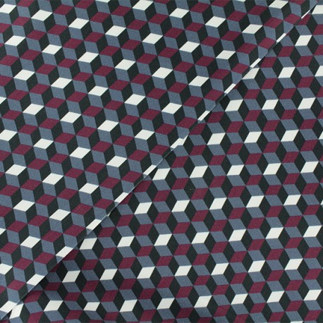 Gabardine fabric - Burgundy Riverside x 10cm
