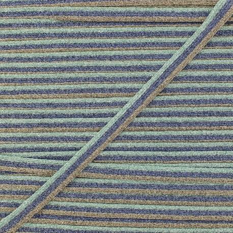7 mm Lurex Braided Ribbon - Aqua Elemento x 1m