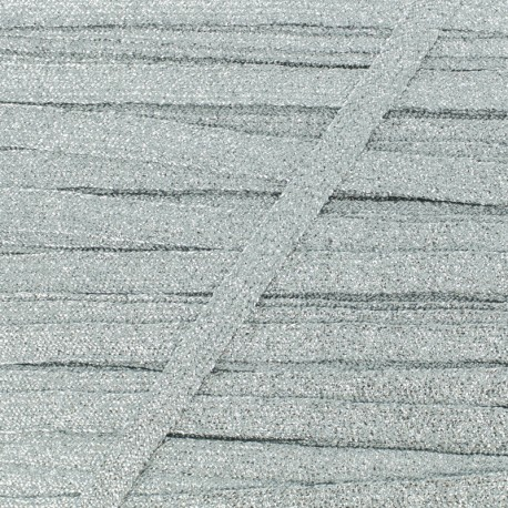 8 mm Lurex Braided Ribbon - Silver Réflexion x 1m