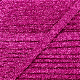 8 mm Lurex Braided Ribbon - Fuchsia Réflexion x 1m