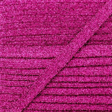 8 mm Lurex Braided Ribbon - Fuchsia Réflexion x 1m
