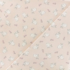 Flannel Fabric - light pink White Bunny x 10cm
