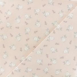 Tissu Flanelle lapin blanc - rose pâle x 10cm
