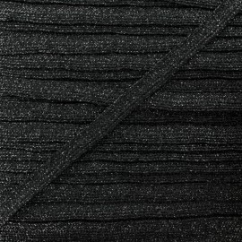 8 mm Lurex Braided Ribbon - Black Réflexion x 1m